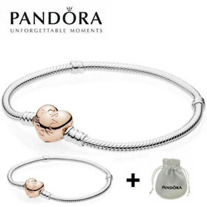 genuine pandora silver moments snake barrel clasp chain charm bracelet with bag