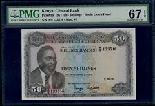 KENYA  50  SHILLINGS  1971   PICK # 9b PMG 67 SUPERB GEM UNC EPQ.
