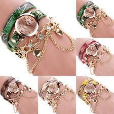 Women Sparkling Leather Rhinestone Sling Chain Wrap Bracelet Quartz Wrist Watch