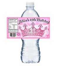 PINK PRINCESS CROWN TIARA PERSONALIZED BIRTHDAY PARTY FAVORS WATER BOTTLE LABELS