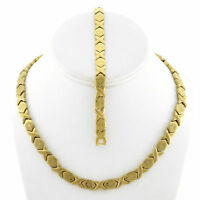 "Hugs & Kisses Necklace Bracelet Set Stampato Stainless Steel Gold Plated 18"" SB"