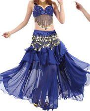 Bollywood Belly Dance Costumes Sets B cup Bra+ Belt or Bra Coins Belt full skirt