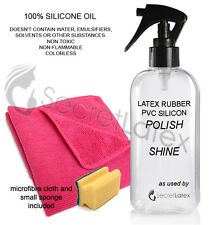 250ML SILICONE OIL PUMP LATEX RUBBER SHINER POLISH CLEANER SHINE CLOTHES + CLOTH