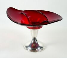 Ruby Art Glass Divided Bonbon Candy Dish Sterling Pedestal Bailey Banks & Biddle