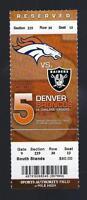 2012 NFL OAKLAND RAIDERS @ DENVER BRONCOS FULL UNUSED FOOTBALL TICKET