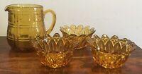 Great Vintage Amber Glass Jug & Three Bowls