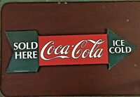 Vintage Coca Cola Sold Here Arrow Sign Metal Ice Cold Coke Advertising (1990)