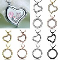 Mixed Living Memory Floating Charms Glass Round Heart Locket Pendant Necklace