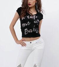By Alina Damentop Pailletten T-Shirt Damenshirt Bauchfrei Wrap Me Up Baby XS-M