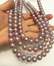 """long AAAAA 48""""10-11mm NATURAL real south sea lavender PURPLE pearl necklace 14K"""