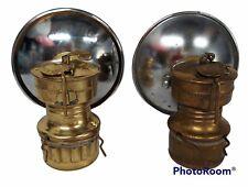 Pair (2) VTG BRASS SAFESPORT BUTTERFLY TRADEMARK  CARBIDE MINERS HAT LIGHT LAMPS