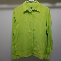 0039 ITALY Linen Shirt Womens Small Button Down Long Sleeve Blouse Lime Green