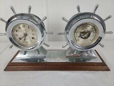 Vintage Salem Ships Bell 8 Jeweled Clock & Barometer, no key. ( working?)