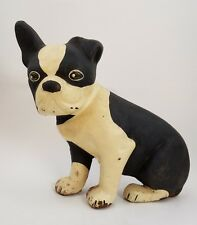 Cast Iron Boston Terrier Dog Puppy Scuplture Door Stop Aged Rusty Yellowed