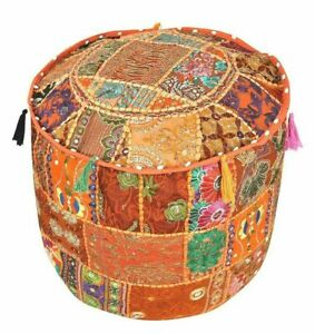Indian Round Pouf Cover Vintage Ottoman Patchwork Footstool Embroidered Pouffe