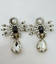ALEXANDER-MCQUEEN-STYLE SPIDER/SKULL CRYSTAL DROP EARRINGS, NWOT