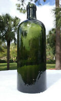 TUMBLED- CIRCA 1870'S ANTIQUE BLOB TOP LIQUOR OR MINERAL WATER BOTTLE! WHITTLED!