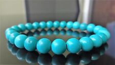 Genuine Turquoise Gemstone Bead Bracelet for Men (On Stretch) 8mm beads AAA - 8""