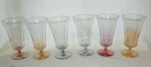 VINTAGE SET 6 RETRO COLOURED PARFAIT or WINE GLASSES - 1960s - excellent cond.