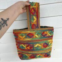 Vintage 70s Rainbow Burlap Embroidered Yarn Handbag