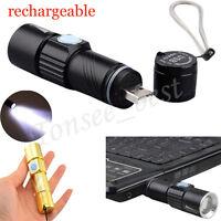 New Outdoor Portable Mini CREE XPE USB Charging Telescopic Zoom LED Flashlight