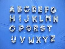 26 x 8mm/10mm A-Z Full Rhinestone Slider Letters Fit Pet Collar Charm Wristband