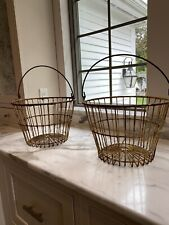 VTG Metal Wire Egg Gathering Baskets   Light Yellow