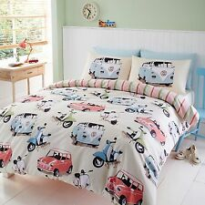 Automobile Bed Set Featuring Campervan Scooter & Mini Retro Vehicle Design … King Size