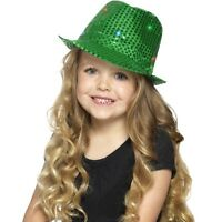 Boy's Green Light Up Sequin Trilby Fancy Dress Hats Childs Parties Dance Shows