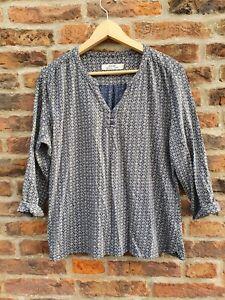 ⛵ SEASALT Organic Cotton ENNIS Top Blouse Blue Grey Geometric Print PLUS SIZE 18
