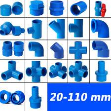 Blau PVC Rohr Klebefitting Muffe Winkel T-Stück Reduzierstück Kappe Kugelhahn
