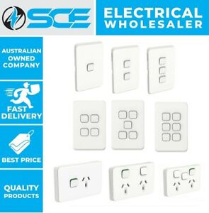 Clipsal Iconic Light Switch Power Point GPO Dimmer 1,2,3,4,5,6 Gang Vivid White