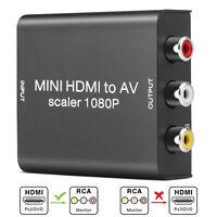 Mini Composite AV Input to HDMI 1080P Scaler Audio Video Adapter Converter