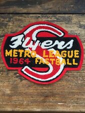 """Vtg 1964 Metro League Fastball Flyers Sew On Patch 7"""" Manitoba Canada Baseball"""