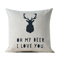 Nordic Deer Animal Quote Balloon Linen Pillow Case Decorative Cushion Cover D7G8