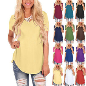 UK Women Plain Summer T Shirt Long Tops Blouse Ladies Tunic Tee Shirts Plus Size