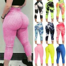Women Yoga Pants Capri High Waist Anti-Cellulite Workout Trousers Leggings Sport