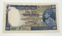 1937 India Ten Rupees Note Pick #19a About Uncirculated Condition