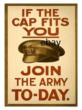 WW1 RECRUITING POSTER IF THE CAP FITS WEAR IT BRITISH ARMY NEW A4 PRINT