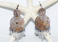 Vtg Sterling Silver 925 Chandelier Filigree AB Crystal Dangling Pierced Earrings