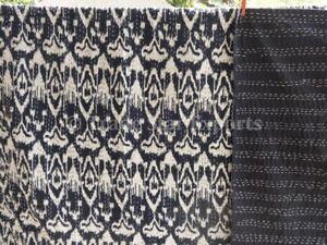 Ikat Kantha Quilt Cotton Bedspread Handmade Reversible Embroidered Queen Bedding
