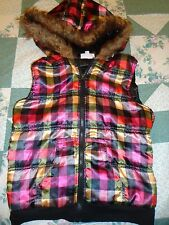 Girl's size  XL Faux Fur Edge Hoodie Vest in Shiny Plaid in Pink Yellow & Black
