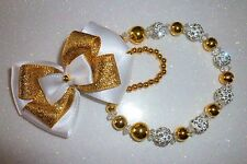 White Gold Shamballa Bow Crystal Bling Baby Romany dummy pacifier clip chain