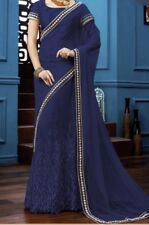 *IN USA* Indian Bollywood Eid Embroidered Navy Blue Color Party Wear Saree Sari