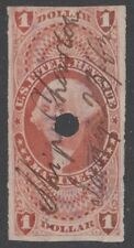 "US Revenue (Scott R72a) 1862 First Issue $1 red MANIFEST USED MC ""Ship Charlton"""