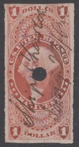 """US Revenue (Scott R72a) 1862 First Issue $1 red MANIFEST USED MC """"Ship Charlton"""""""