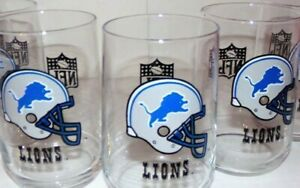 SET OF 4 DETROIT LIONS NFL FOOTBALL ROCK GLASSES! SWEET COLLECTIBLE! LOOK!
