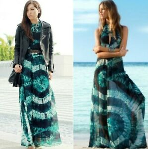 Rare H&M FOR WATER M/L Green Tie-dye Batik Maxi Beach Dress Beyoncé BNWT