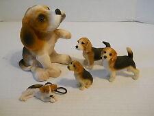 "5 Beagle Sculptures Handpainted 3-7"" sizes United Design Udc Suzan Polan 1980s"