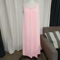 Vintage Kayser Womens 8 Medium Pink Nightgown Lace Boat Neck Sleeveless Nylon